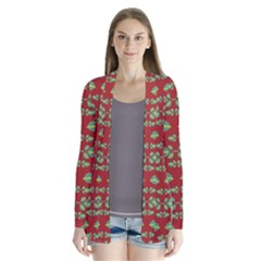 Tropical Stylized Floral Pattern Drape Collar Cardigan