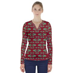Tropical Stylized Floral Pattern V Neck Long Sleeve Top