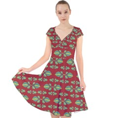 Tropical Stylized Floral Pattern Cap Sleeve Front Wrap Midi Dress