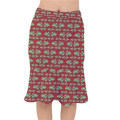 Tropical Stylized Floral Pattern Mermaid Skirt