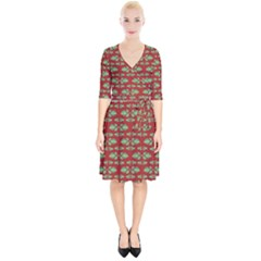 Tropical Stylized Floral Pattern Wrap Up Cocktail Dress