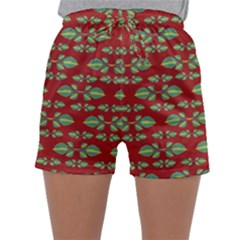 Tropical Stylized Floral Pattern Sleepwear Shorts