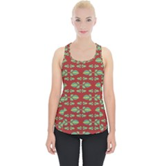 Tropical Stylized Floral Pattern Piece Up Tank Top