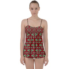 Tropical Stylized Floral Pattern Babydoll Tankini Set