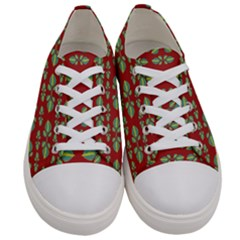 Tropical Stylized Floral Pattern Women s Low Top Canvas Sneakers