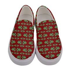 Tropical Stylized Floral Pattern Women s Canvas Slip Ons