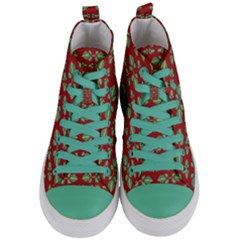 Tropical Stylized Floral Pattern Women s Mid Top Canvas Sneakers