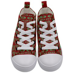 Tropical Stylized Floral Pattern Kid s Mid Top Canvas Sneakers