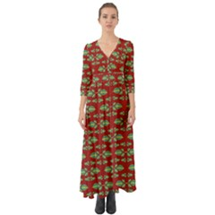 Tropical Stylized Floral Pattern Button Up Boho Maxi Dress