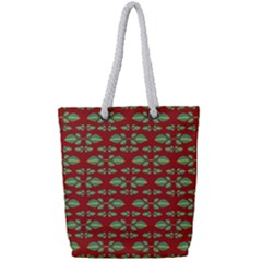 Tropical Stylized Floral Pattern Full Print Rope Handle Tote (small)