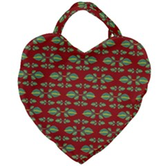 Tropical Stylized Floral Pattern Giant Heart Shaped Tote
