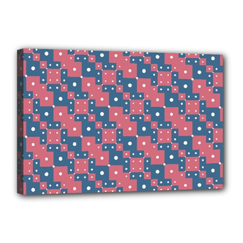 Squares And Circles Motif Geometric Pattern Canvas 18  X 12