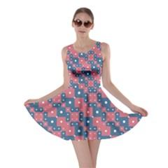 Squares And Circles Motif Geometric Pattern Skater Dress