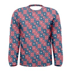Squares And Circles Motif Geometric Pattern Men s Long Sleeve Tee
