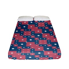 Squares And Circles Motif Geometric Pattern Fitted Sheet (full/ Double Size)