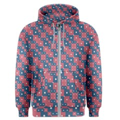 Squares And Circles Motif Geometric Pattern Men s Zipper Hoodie