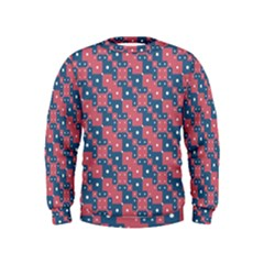 Squares And Circles Motif Geometric Pattern Kids  Sweatshirt