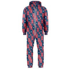 Squares And Circles Motif Geometric Pattern Hooded Jumpsuit (men)