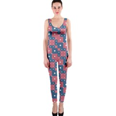 Squares And Circles Motif Geometric Pattern One Piece Catsuit