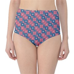 Squares And Circles Motif Geometric Pattern High Waist Bikini Bottoms