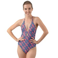 Squares And Circles Motif Geometric Pattern Halter Cut Out One Piece Swimsuit