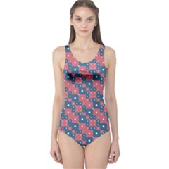 Squares And Circles Motif Geometric Pattern One Piece Swimsuit
