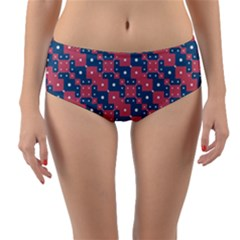 Squares And Circles Motif Geometric Pattern Reversible Mid Waist Bikini Bottoms