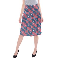 Squares And Circles Motif Geometric Pattern Midi Beach Skirt