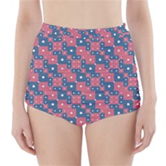 Squares And Circles Motif Geometric Pattern High Waisted Bikini Bottoms