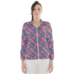 Squares And Circles Motif Geometric Pattern Wind Breaker (women)