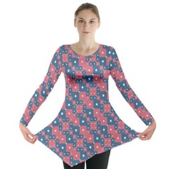 Squares And Circles Motif Geometric Pattern Long Sleeve Tunic