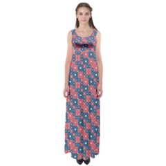 Squares And Circles Motif Geometric Pattern Empire Waist Maxi Dress