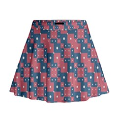Squares And Circles Motif Geometric Pattern Mini Flare Skirt