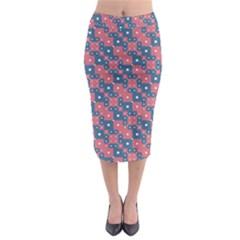 Squares And Circles Motif Geometric Pattern Midi Pencil Skirt