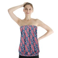 Squares And Circles Motif Geometric Pattern Strapless Top