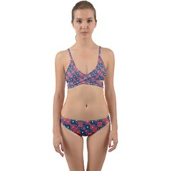 Squares And Circles Motif Geometric Pattern Wrap Around Bikini Set