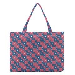 Squares And Circles Motif Geometric Pattern Medium Tote Bag