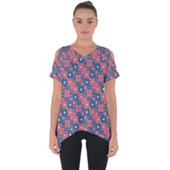 Squares And Circles Motif Geometric Pattern Cut Out Side Drop Tee