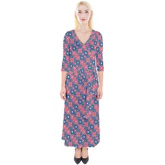 Squares And Circles Motif Geometric Pattern Quarter Sleeve Wrap Maxi Dress