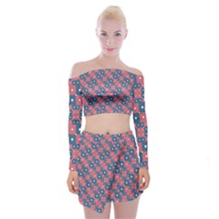 Squares And Circles Motif Geometric Pattern Off Shoulder Top With Mini Skirt Set