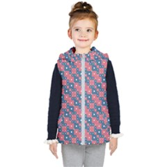 Squares And Circles Motif Geometric Pattern Kid s Hooded Puffer Vest