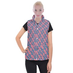 Squares And Circles Motif Geometric Pattern Women s Button Up Vest