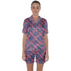 Squares And Circles Motif Geometric Pattern Satin Short Sleeve Pyjamas Set