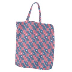 Squares And Circles Motif Geometric Pattern Giant Grocery Zipper Tote