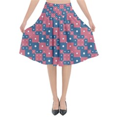 Squares And Circles Motif Geometric Pattern Flared Midi Skirt