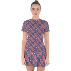 Squares And Circles Motif Geometric Pattern Drop Hem Mini Chiffon Dress