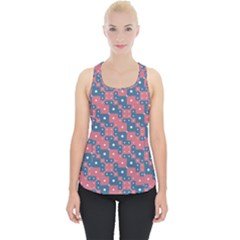 Squares And Circles Motif Geometric Pattern Piece Up Tank Top