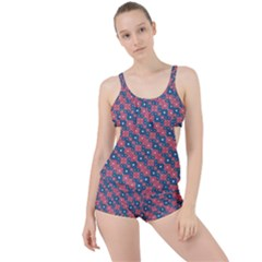 Squares And Circles Motif Geometric Pattern Boyleg Tankini Set