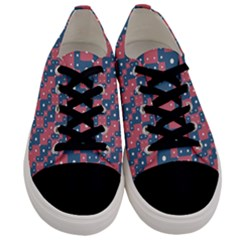 Squares And Circles Motif Geometric Pattern Men s Low Top Canvas Sneakers