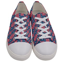 Squares And Circles Motif Geometric Pattern Women s Low Top Canvas Sneakers